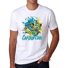 Grafytees Captain Cool Colour Splash Dhoni White T-Shirt