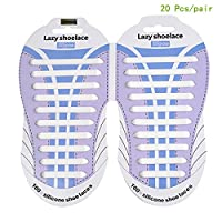 Megoday No Tie Waterproof Silicon Flat Elastic Shoelaces for Kids and Adults,Best in Sports Fan Shoelaces, Athletic Running Shoe, Sneaker Boots, Board Shoes and Casual Shoes Lace (white)
