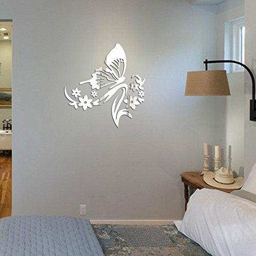 Yumimi88 Aufkleber Des Spiegel-3D Schmetterlings-Blumen-Wand-Aufkleber-Dekorativer Acrylspiegel Wandaufkleber 3D Style Wanddekoration Wanddeko Metall Schmetterlinge Deko