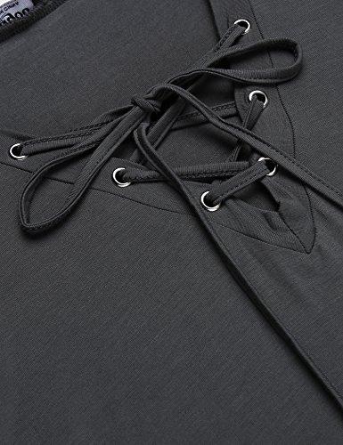 Zeagoo Damen Sommer T-Shirt Kurzarm Oberteile Lace up Shirt Swing-Tops Loose Fit Comfy Top mit Schnürung Grau