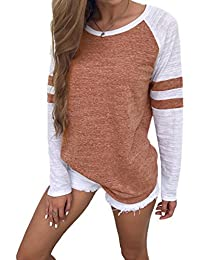 64a2637f435873 Famulily Women s Long Sleeve Baseball Tee Shirt Striped Top
