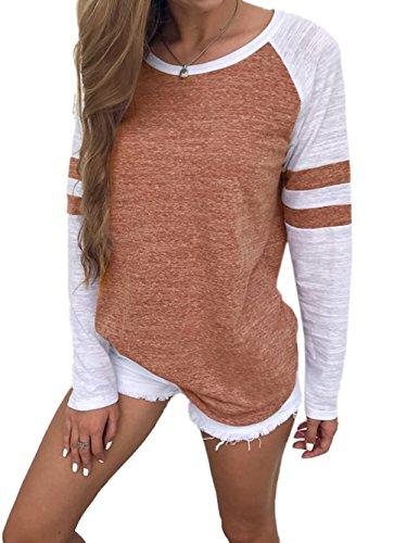 Damen Streifen Langarmshirt Tops Elegant Lose Baseball T-Shirt Sweatshirt Bluse (M,Brown)