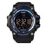 LEMFO Herren Militär Smartwatch EX16 Bluetooth 4.0 Digital LED Watch 5 ATM & IP67 Wasserdicht Smartwatch Schrittzähler Anruf SMS Erinnerung Liminous Dial Sport Armbanduhr, blau