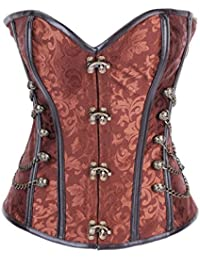 Dissa® Punk bustier corset avec G-String, Marron