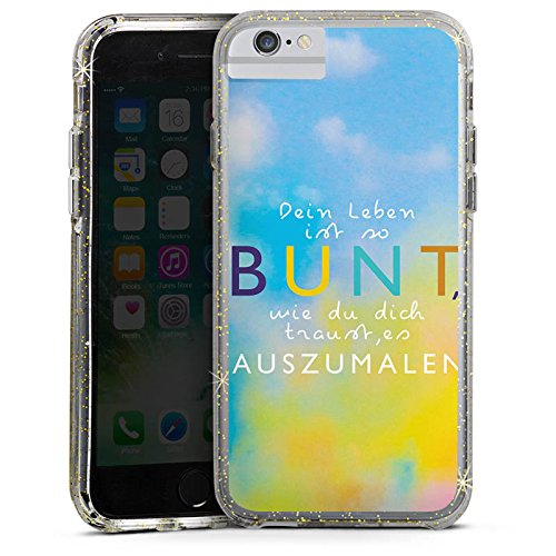 Apple iPhone 6s Bumper Hülle Bumper Case Glitzer Hülle Visual Statements Motivation Spruch Bumper Case Glitzer gold