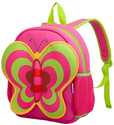 Nohoo i bambini zaino - carino farfalla Pack Red(13*10.3*4.8 inch) - regalo Natale regalo di borsa Toddler bambini della Cartoon per 3-8 anni