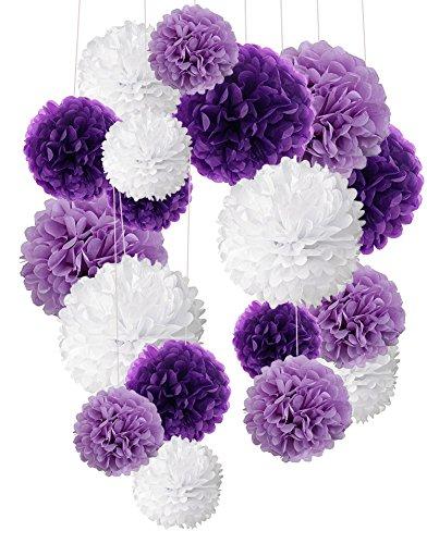 Recosis 18 Stück Seidenpapier Pompoms Blumen Ball Dekorpapier Kit für Geburtstag Hochzeit Baby Dusche Parteien Hauptdekorationen und Partei Dekoration - Violett , Lavendel und Weiß