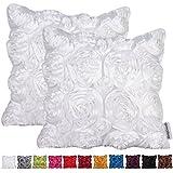 Comoco® -2pcs color sólido satén 3d rosa funda de cojín () funda para sofá (40x 40cm)