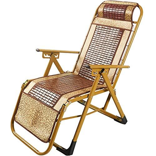 Folding chair JUN Sommer Mahjong Matte Stuhl Klappstuhl Lounge Stuhl Büro Nickerchen Mittagspause Stuhl Outdoor Tragbare Strand Bambus Stuhl Boutique Mahjong Block Lounge Stuhl (zufällige Farbe)