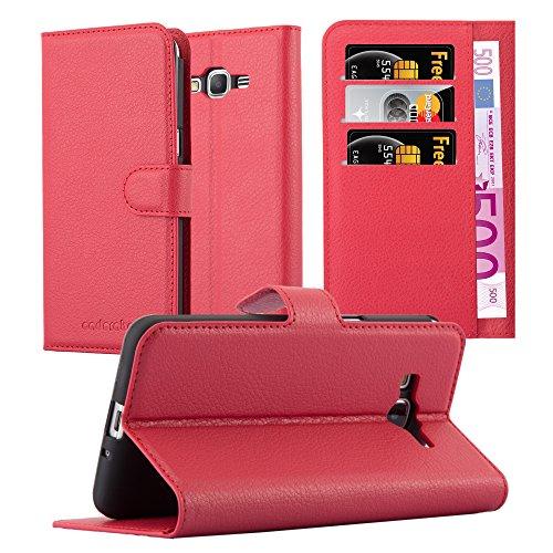 Cadorabo Custodia Libro per Samsung Galaxy Grand Prime in Rosso Carminio - con Vani di Carte, Funzione Stand e Chiusura Magnetica - Portafoglio Cover Case Wallet Book Etui Protezione