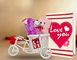 TiedRibbons valentine gifts for Girlfriend Love you 2 Teddy with cycle,Keychain and Greeting Card