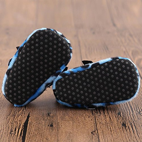 Clode® Bébé Chaussons filles Leopard Bowknot souple semelle chaussure (12~18 Mois, Bleu) Bleu