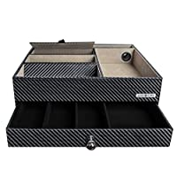 MK389 - Carbon Fiber Leatherette 2tier Valet Tray with Drawer