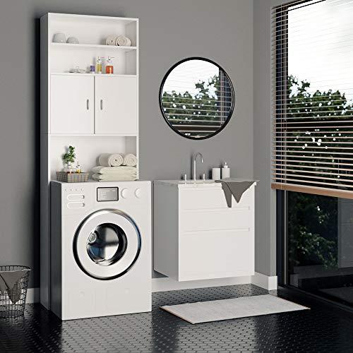 Deuba armadio alto per lavatrice mobile per il bagno mobile sopra toilette 195x63x20cm bianco