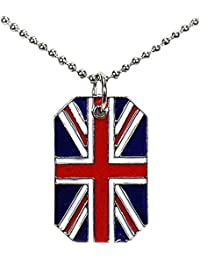 """The Olivia Collection Unisex Union Jack Dog Tag Pendant on 18"""" Chain"""