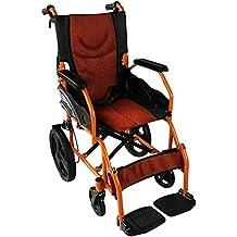 Silla de ruedas ligera   reposapiés, respaldo y reposabrazos acolchados   naranja   Pirámide  
