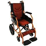 Silla de ruedas ligera | reposapiés, respaldo y reposabrazos acolchados | naranja | Pirámide | Mobiclinic ancho de asiento...
