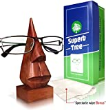 [SPECTACLE WIPE BONUS] - Hand Carved Nose Shaped Shisham Wooden Glasses Holder With Spectacle wipe and Gift Box- Stop Losing Glasses From Now!