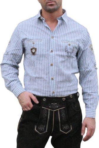 Trachtenhemd für Lederhosen mit Verzierung blau/gestreift, Hemdgröße:M