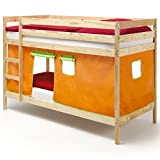 IDIMEX Etagenbett Doppelstockbett Felix, Kiefer massiv Natur lackiert mit Vorhang orange/grün