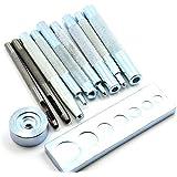 WINOMO 11pcs maroquinerie artisanat Tool Kit Rivet Setter avec Base pour bouton de Rivet Hole Punch