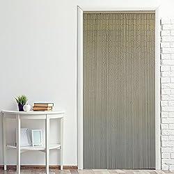 Power-Preise24 Cortina para puerta de bambú ''Nature'' 90 x 200 cm para colgar- Cortina persiana divisoria colorida a ambos lados con 90 hilos con piezas de bambú, Motivo:Blanco