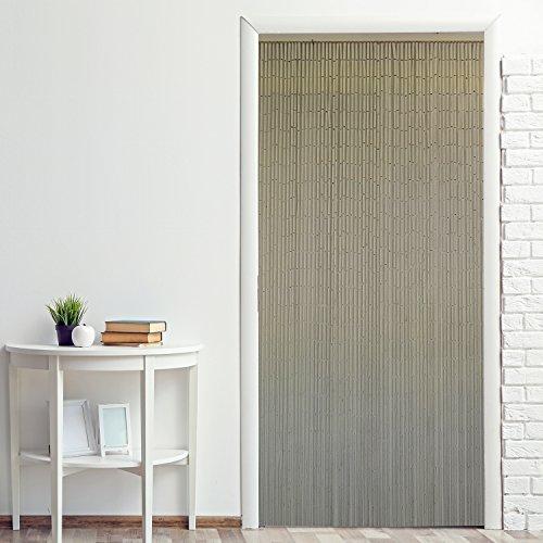 Power-Preise24 Bambus Türvorhang Uni 90 x 200 cm eleganter Raumteiler mit 65 Strängen aus Bambus Bambusvorhang zum Aufhängen, Motiv:weiß