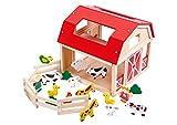 Holz Bauernhof Spielset Spielzeug mit Tier Haus & Hof & Tiere & kleine Mädchen & jungen Leiter Zubehör - TKB856-