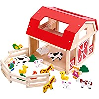 Tooky Toys Wooden Farm Playset Toy with Animal House & Yard & Animals & Little Girl & Boy Ladder Accessories - TKB856-