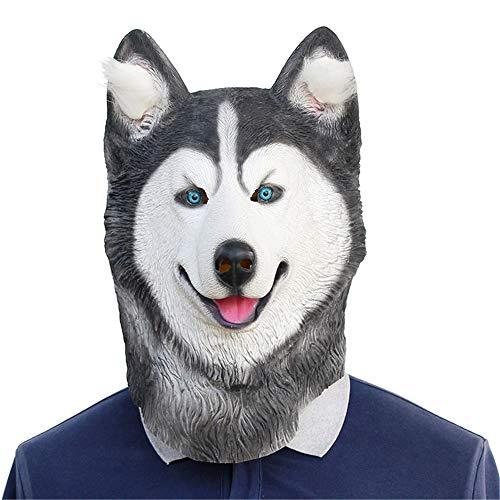Siberian Husky Kostüm - Halloween Siberian Husky Latex Tier Hundekopf,