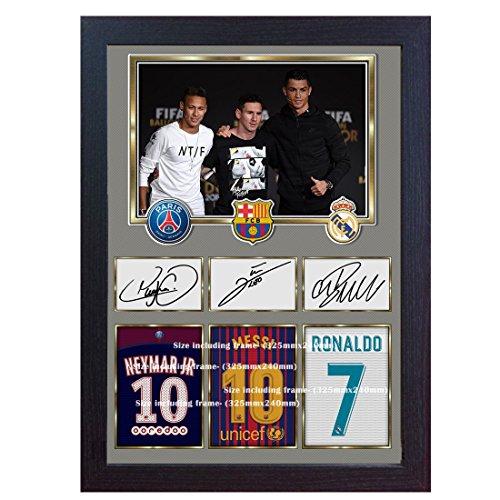 S&E DESING New Neymar Messi Cristiano Ronaldo Signed Autograph Print Foto Bild gerahmt -