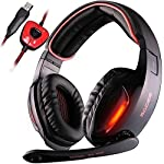 Gaming Headset, Sades SA902 Auriculares gaming de diadema cerrados con micrófono Virtual 7.1 envolvente sonido USB Cancelación De Ruido juego auriculares Para PC (Negro/Rojo)