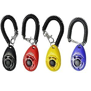 Meetory 4x Clicker de dressage de chien avec bracelet, pour entraîner chien, chat, cheval