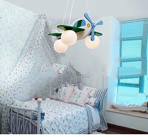 Jungen und Mädchen Lampen Schlafzimmer Kinderzimmer minimalistischem Kronleuchter Schlafzimmerlampe Karikatur Flugzeug (Durchmesser 49cm)