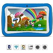 Tablet Para Niños, QIMAOO, Tablet Infantil de 7 Pulgadas iWawa Software Pre-instalado, Android 5.1, Lollipop Quad Core Tablet Externa 3G,8GB ROM, 1GB RAM, Wifi ,Bluetooth, Doble Cámara, Google Play(con Funda De Silicona Azul)