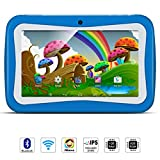 Tablette Enfant 7 Pouces,QIMAOO Android 5.1 Quad Core Tablette Tactile à Double Caméra WiFi Intégré et Jeux,1024 * 600 IPS HD Ecran Tactile 1GB RAM + 8GB ROM avec Housse de Protection en Silicone(Bleu)