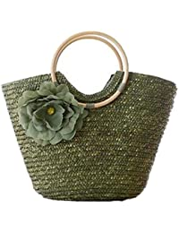 4d7e0203fdbc4 Rattan Griff gewebt Tasche Blume Tasche Freizeit Urlaub Tasche Strandtasche  Damen Luxus Handtasche