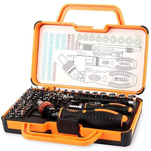 JAKEMY 69 in 1 Feinmechaniker Schraubendreher Set mit 55 Bits Magnetische Schrauberbit und 9 Steckschlüssel-Satz Ratschen Wartungskit für Automobil, Elektrogerät, PC, Macbook, Handy, Brillen (JM-6111) -