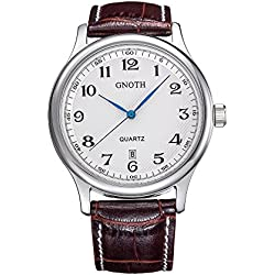 GNOTH Men's Silver Minimalist Leather Wristwatch with Date Easy Read Numbers