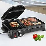 Jago - Sandwichera grill parrilla barbacoa eléctrica de cocina - color negro 2200 W - aprox. 51/31,5/12,5 cm