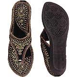 A A Footcraft Present Women's Ethnic Rajasthani Embroidered zari Work Handmade Flats/Slippers/Chappal (WS_AAF_09_P)