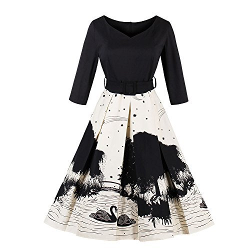 iShine Übergröße Kleid Damen V-Ausschnitt 3/4 Arm Rockabilly Kleid mit Gürtel Faltenrock Partykleid Cocktailkleid Festliches Kleid große (Mode Damen 60er Jahre)