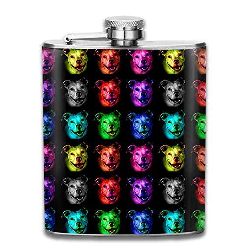 Rghkjlp Pitbull Pop Art Portable Flask for Liquor and Funnel 7 Oz Stainless Steel Flask Bottle for Discrete Shot Drinking of Alcohol, Whiskey, Rum and Vodka | Gift for Men - Amerikanischen Pop-art