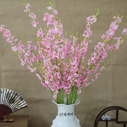 MTQVV Künstliche Blume flowerArtificial Orchid Flowers 5 Branch Hochwertige Seide Oncidium Hybridum Dancing-Doll Orchidee für die Hochzeit zu Hause Garden Decor