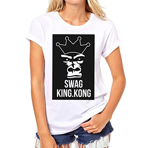 YOLO Swag King Kong Black And White Damen T-Shirt Weiß