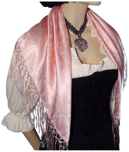 Dirndl-Trachtentuch Seidentuch Tuch rosa 75x75cm Dirndltuch Seide Fransentuch