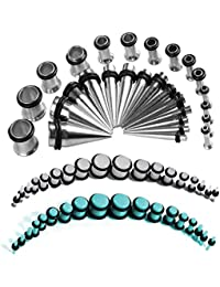 72 Pieces Ear Stretching Kit 1.6mm-10mm Plugs and Tapers 14G-00G Gauges Set 36 Pairs