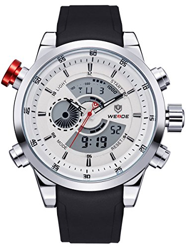 Alienwork DualTime Analog-Digital Armbanduhr Chronograph LCD Uhr Multi-funktion weiss schwarz Polyurethan OS.WH-3401-2