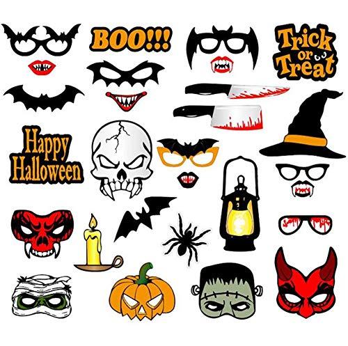 Tukistore 28 Stück Halloween Cosplay Foto Booth Requisiten DIY Halloween Requisiten Fotorequisiten Fotoaccessoires für Halloween Geburtstag Garten Party