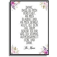 Kunstdruck Bild mit Gedicht zum Muttertag auf Wunsch personalisiert. Modernes Poster mit Blumen und Federn Poster Print Plakat ungerahmt / schöne Wand-Deko Geschenkidee